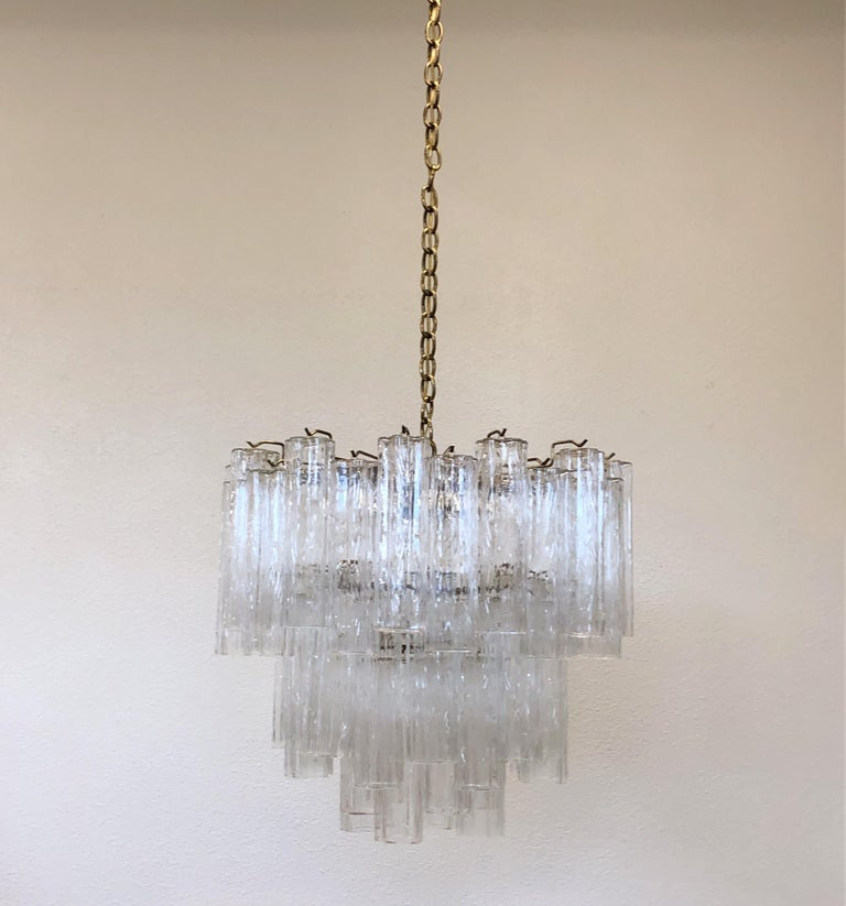 Italian Murano Glass and Brass Chandelier by Venini In Excellent Condition For Sale In Palm Springs, CA
