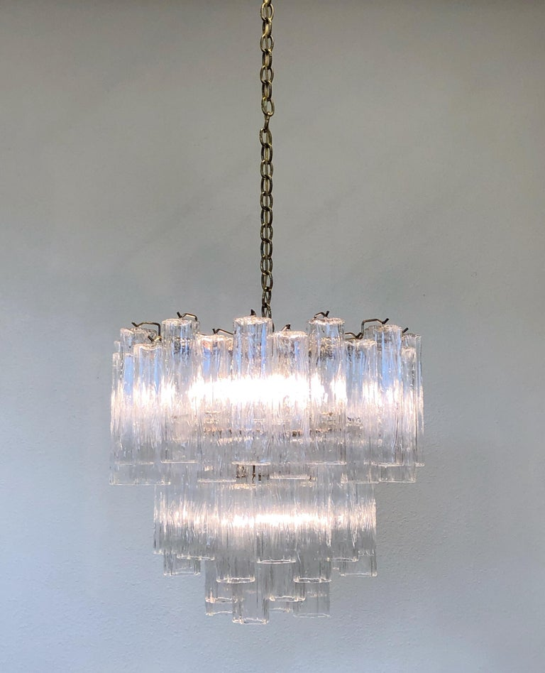 Late 20th Century Italian Murano Glass and Brass Chandelier by Venini For Sale