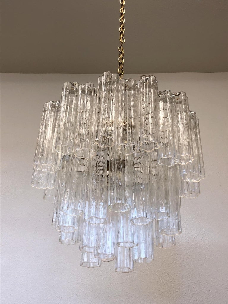 Italian Murano Glass and Brass Chandelier by Venini For Sale 2