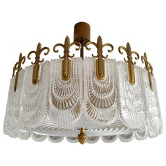 Italian Murano Glass and Brass Chandelier, Flush Mount