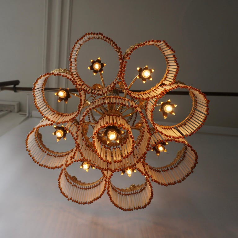 Italian Art Deco Murano Glass and Brass Chandelier For Sale 5