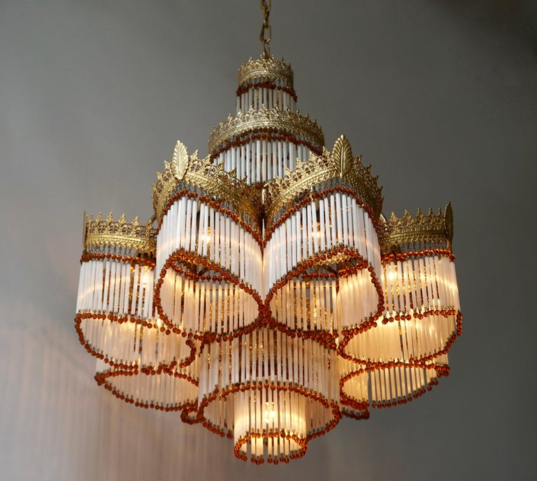 Hollywood Regency Italian Art Deco Murano Glass and Brass Chandelier For Sale