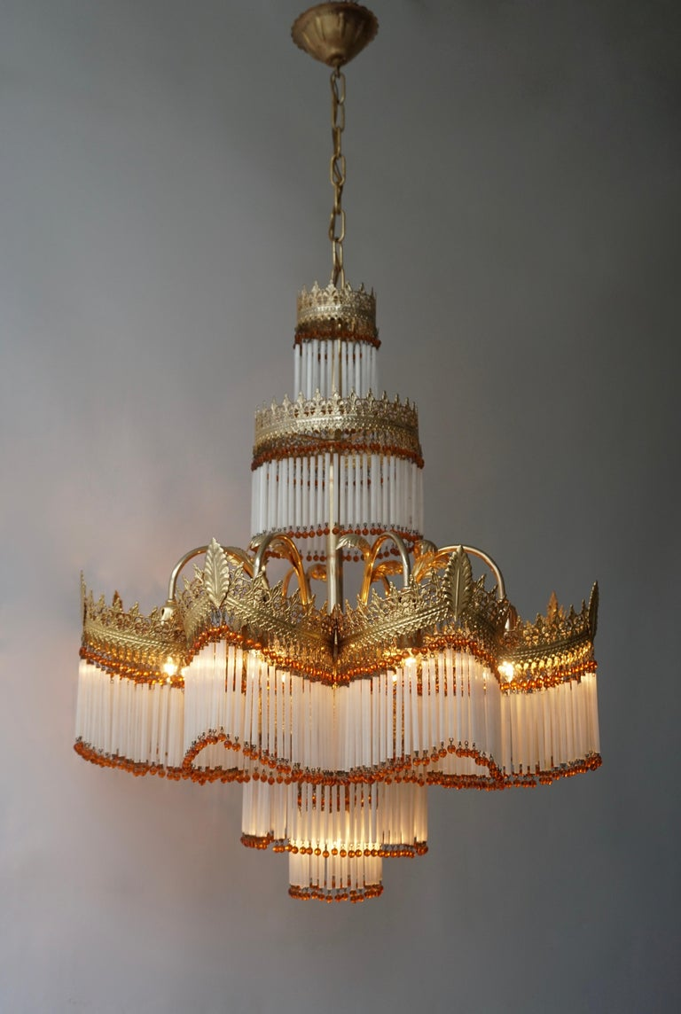 Italian Art Deco Murano Glass and Brass Chandelier In Good Condition For Sale In Antwerp, BE