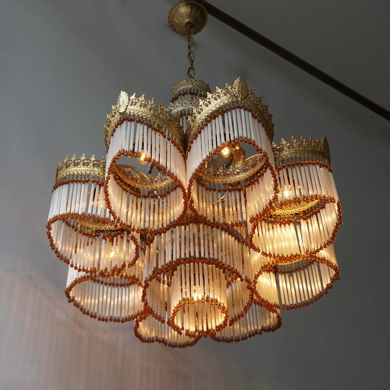 20th Century Italian Art Deco Murano Glass and Brass Chandelier For Sale