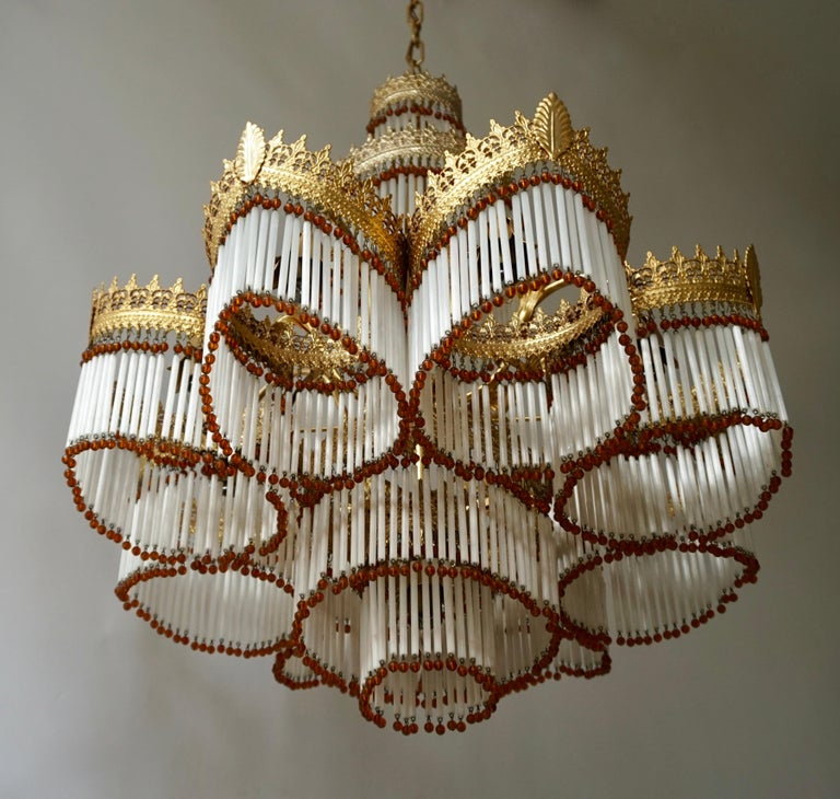 Italian Art Deco Murano Glass and Brass Chandelier For Sale 1