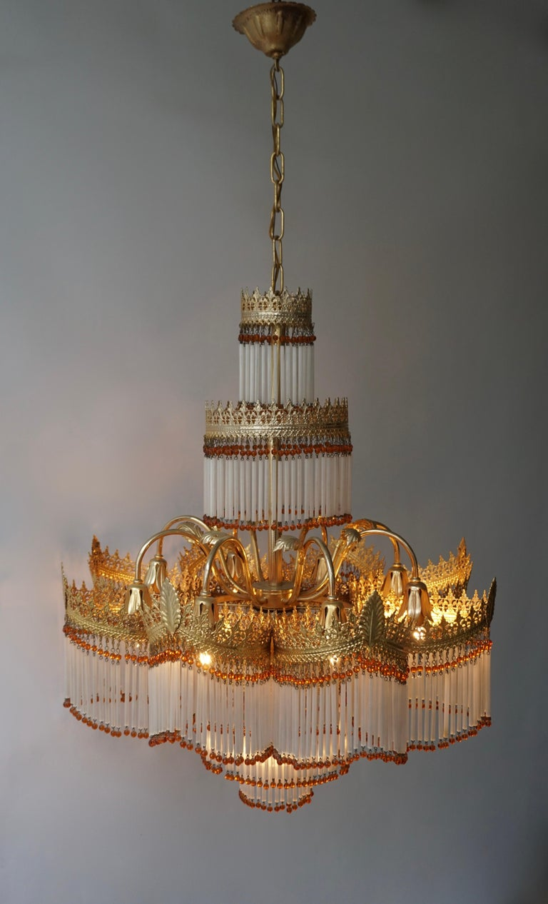 Italian Art Deco Murano Glass and Brass Chandelier For Sale 2