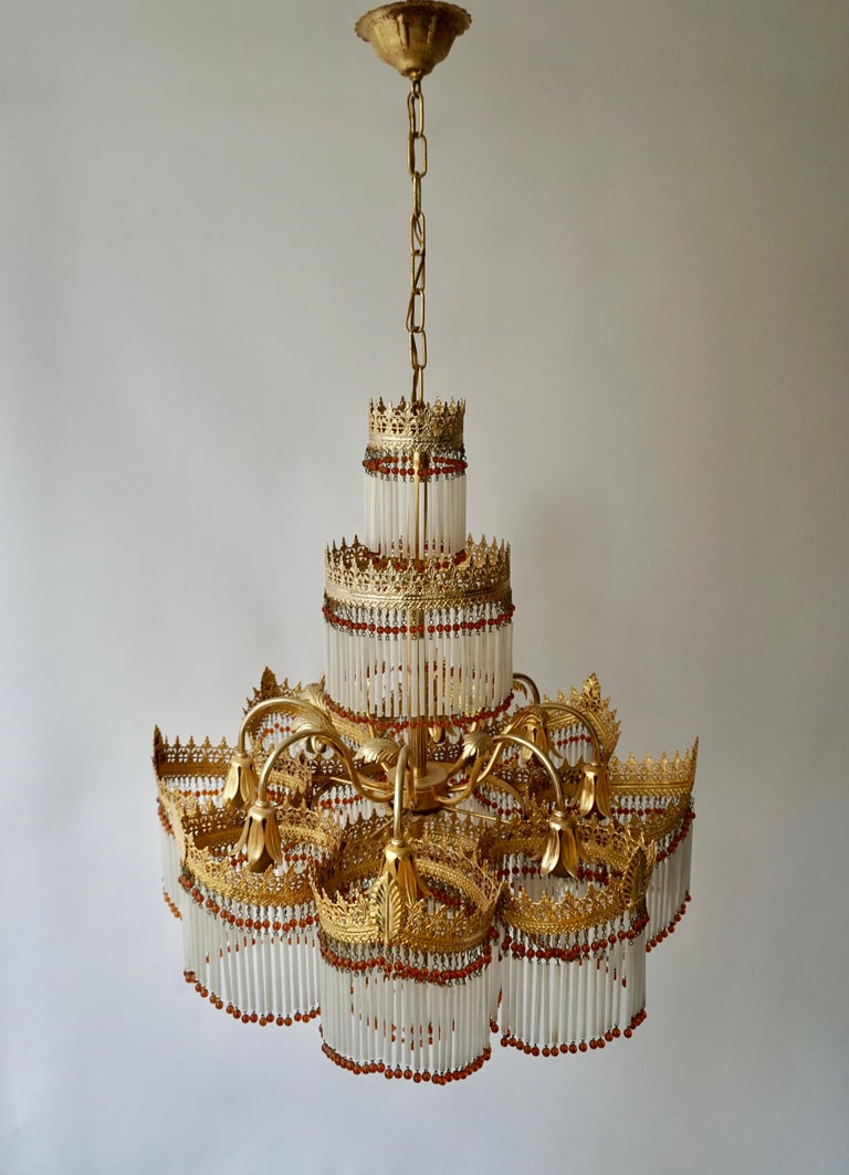Italian Art Deco Murano Glass and Brass Chandelier For Sale 3