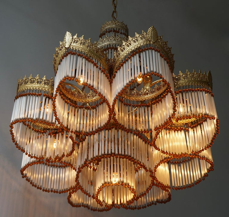 Italian Art Deco Murano Glass and Brass Chandelier For Sale 4