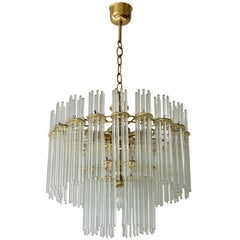 Italian Murano Glass and Brass Chandelier