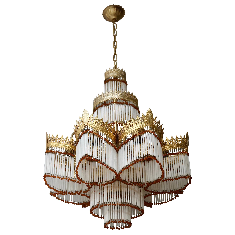 Italian Art Nouveau Murano Glass and Brass Chandelier