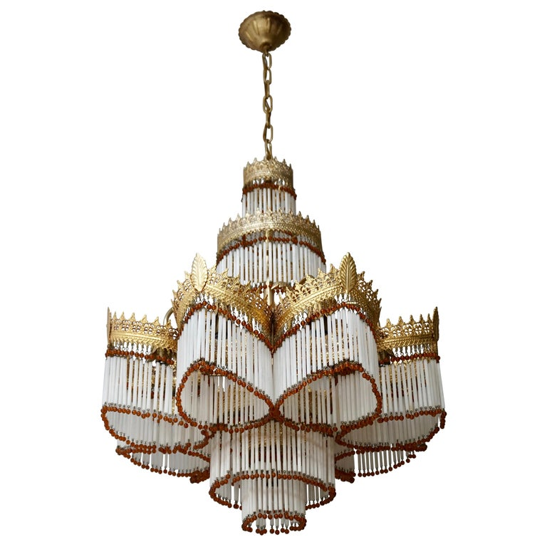 Italian Art Deco Murano Glass and Brass Chandelier For Sale