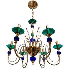 Two Italian Murano Glass and Brass Chandeliers