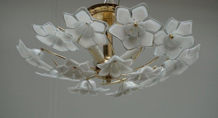 Hollywood Regency Italian Murano Glass and Brass Flush Mount, Wall Light For Sale