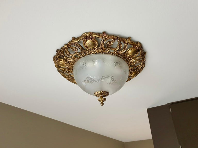 Mid-Century Modern Italian Murano Glass and Brass Flush Mount, Wall Light For Sale
