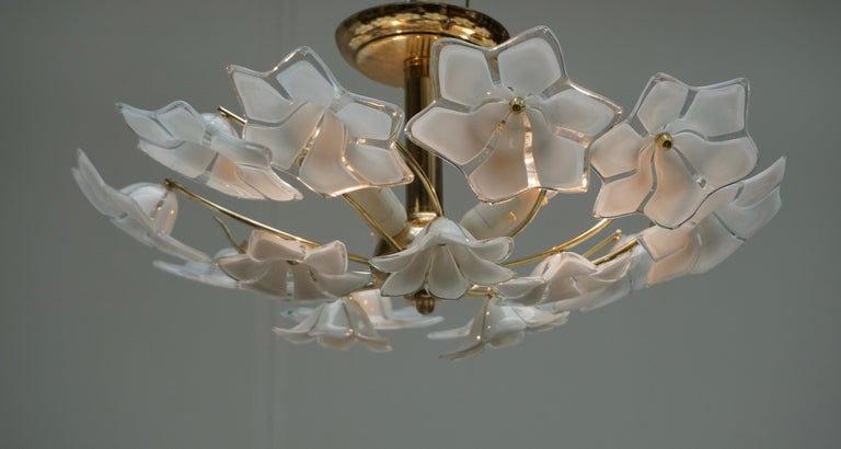 Italian Murano Glass and Brass Flush Mount, Wall Light In Good Condition For Sale In Antwerp, BE