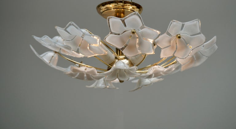 20th Century Italian Murano Glass and Brass Flush Mount, Wall Light For Sale