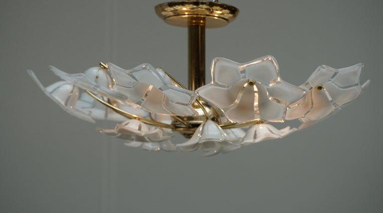 Italian Murano Glass and Brass Flush Mount, Wall Light For Sale 1