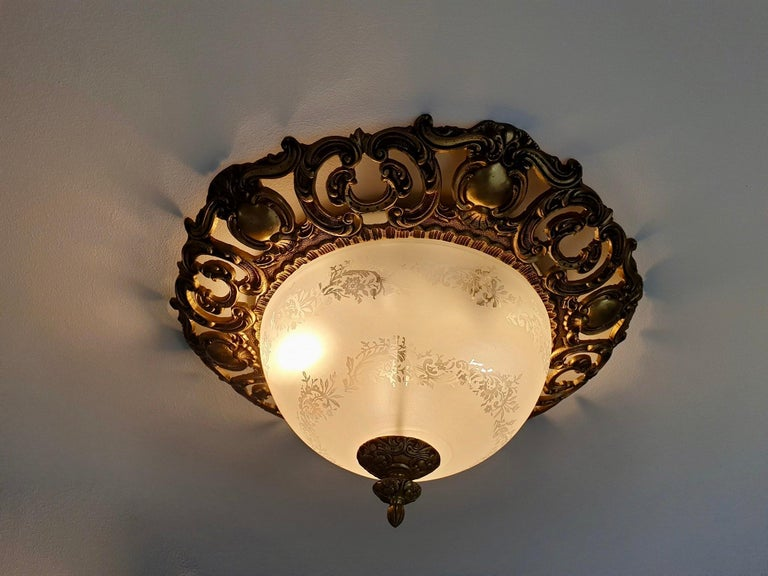 Italian Murano Glass and Brass Flush Mount, Wall Light For Sale 1