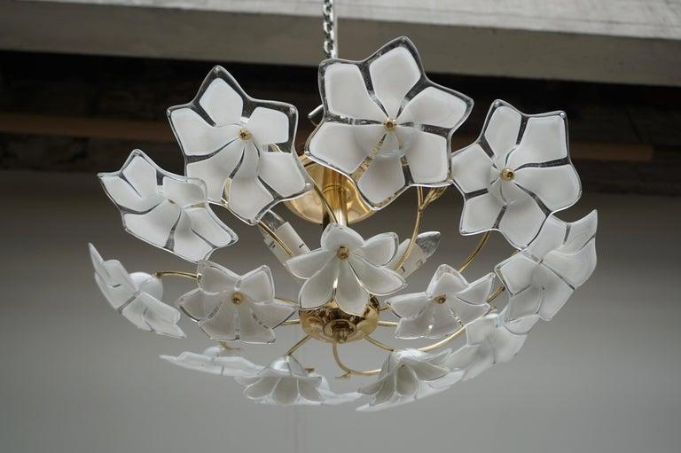 Italian Murano Glass and Brass Flush Mount, Wall Light For Sale 3