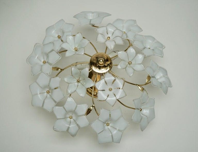 Italian Murano Glass and Brass Flush Mount, Wall Light For Sale 4