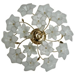 Italian Murano Glass and Brass Flush Mount, Wall Light