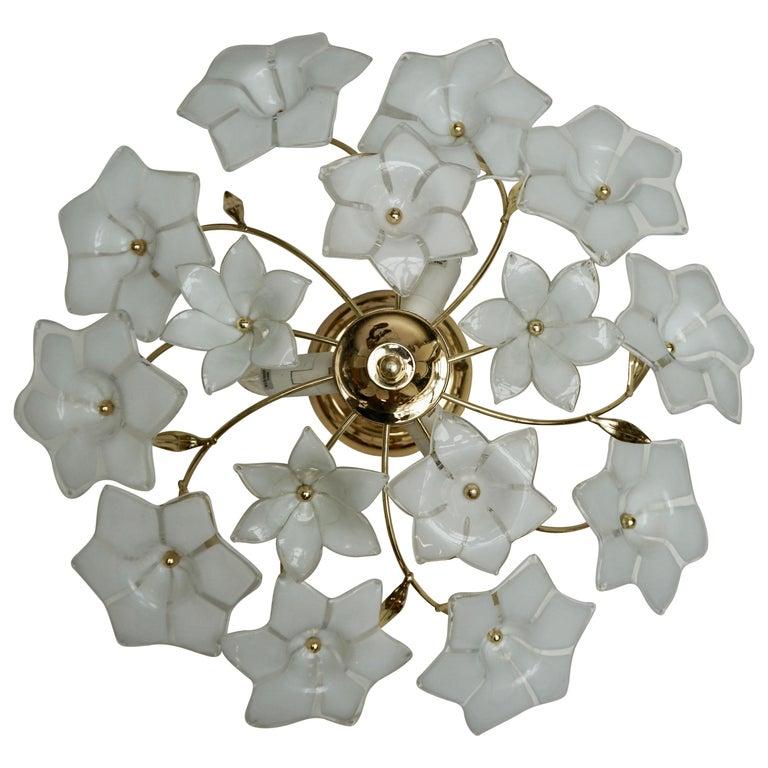 Italian Murano Glass and Brass Flush Mount, Wall Light For Sale