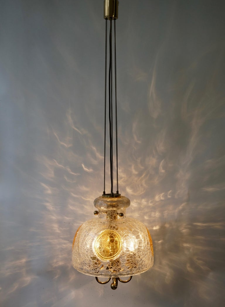 Italian Murano Glass and Brass Pendant Light For Sale 5
