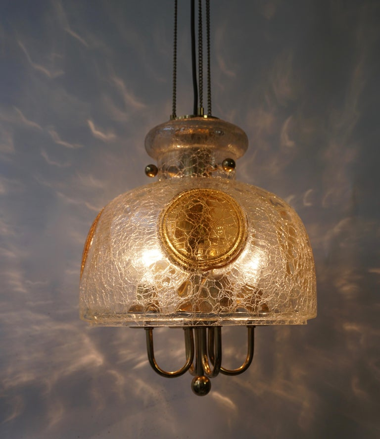 Italian Murano Glass and Brass Pendant Light For Sale 6
