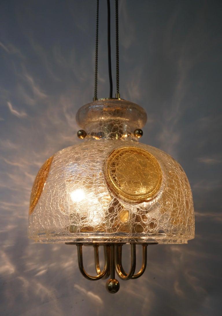 Italian Murano Glass and Brass Pendant Light For Sale 7