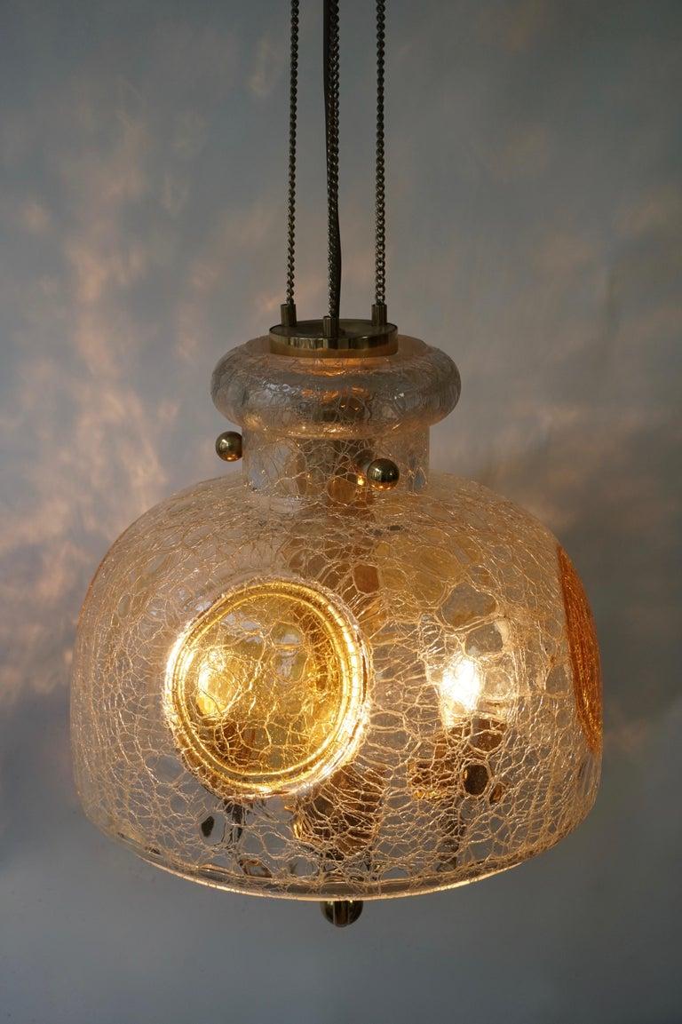 Italian Murano Glass and Brass Pendant Light For Sale 8
