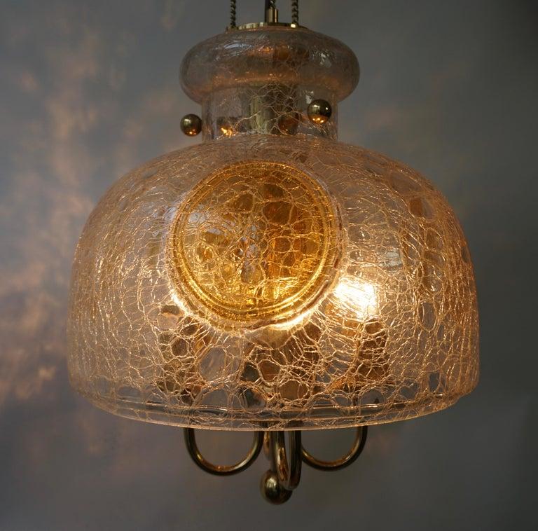 Italian Murano Glass and Brass Pendant Light For Sale 9