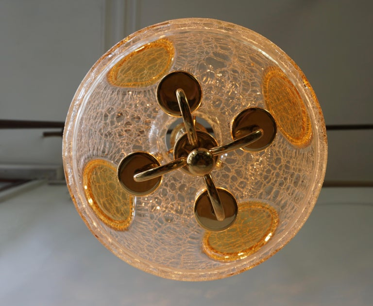 20th Century Italian Murano Glass and Brass Pendant Light For Sale
