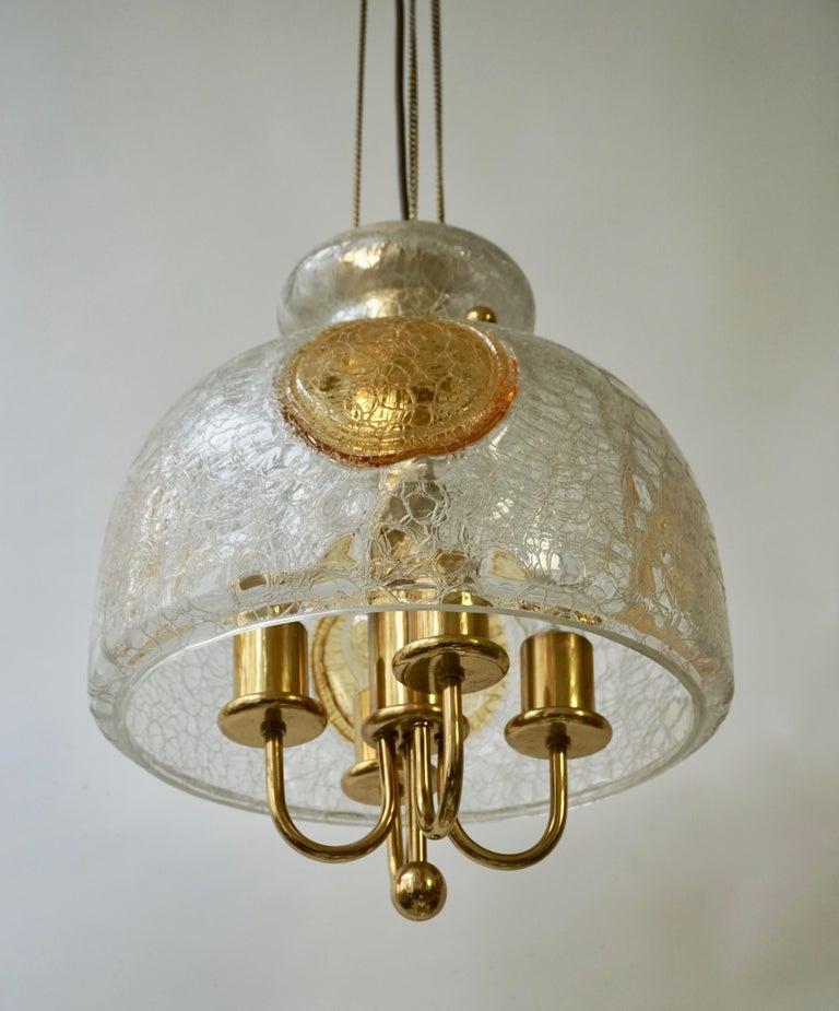 Italian Murano Glass and Brass Pendant Light For Sale 1