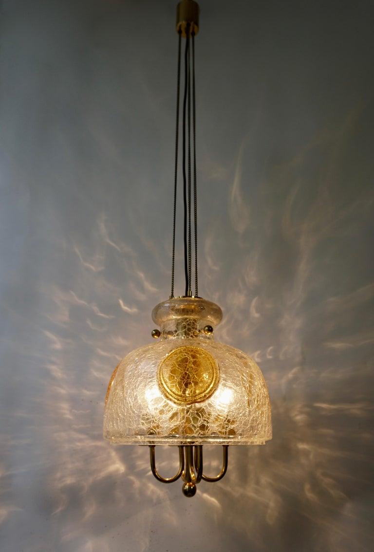 Italian Murano Glass and Brass Pendant Light For Sale 4