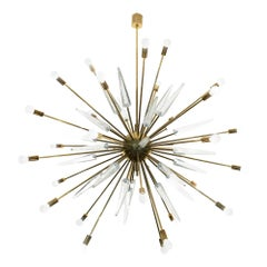 Italian Murano Glass and Brass Sputnik Design Chandelier