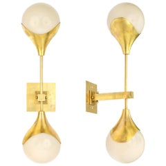 Italian Murano Glass and Brass Wall Sconces