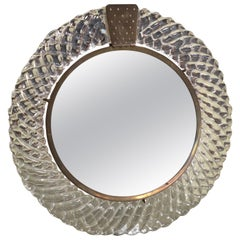 Italian Murano Glass and Bronze Table Mirror Venini, 1950s