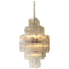 Italian Murano Glass and Chrome Chandelier by Venini