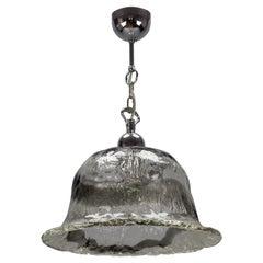 Italian Murano Glass Bell-Shaped Iced Glass and Chrome Pendant Light, 1970s