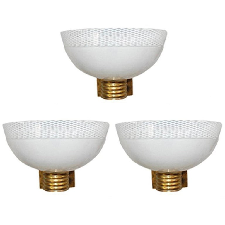 Three Murano Bowl Sconces by Venini For Sale