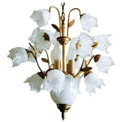 Italian Murano Glass Brass Four-Light Tulip Bouquet Chandelier, 1960-1969