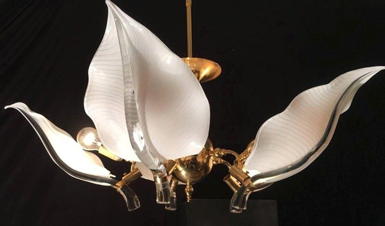Italian Murano Glass Chandelier by Franco Luce, circa 1970 For Sale 6