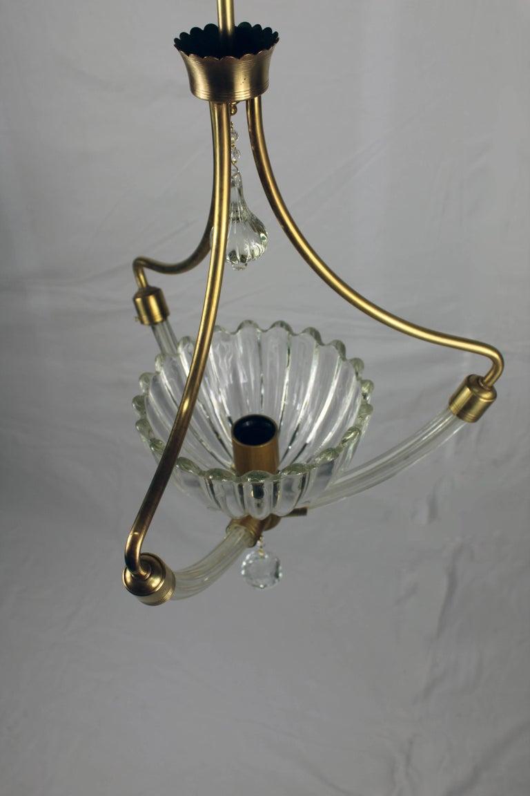 Brass Italian Murano Glass Chandelier, 1930s For Sale
