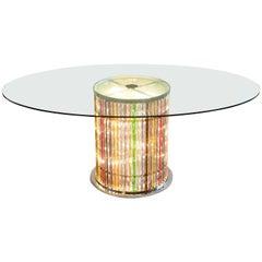 Italian Venetian, Dining Table, blown Murano Glass, Lights in the Stem, 21st