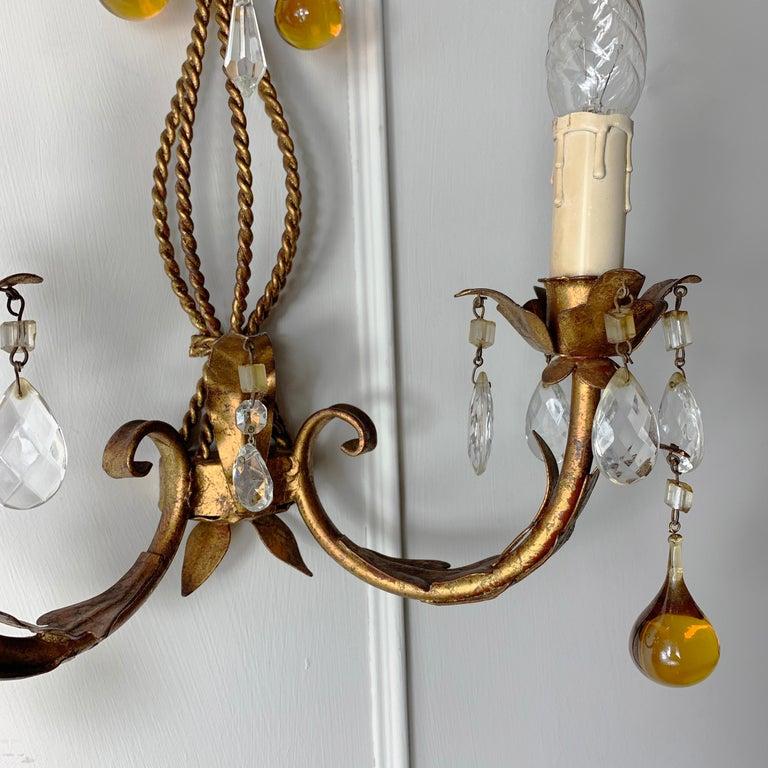 20th Century Italian Murano Glass Drop Gilt Wall Light For Sale