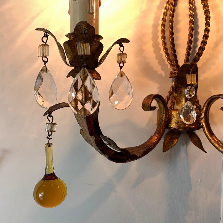 Metal Italian Murano Glass Drop Gilt Wall Light For Sale
