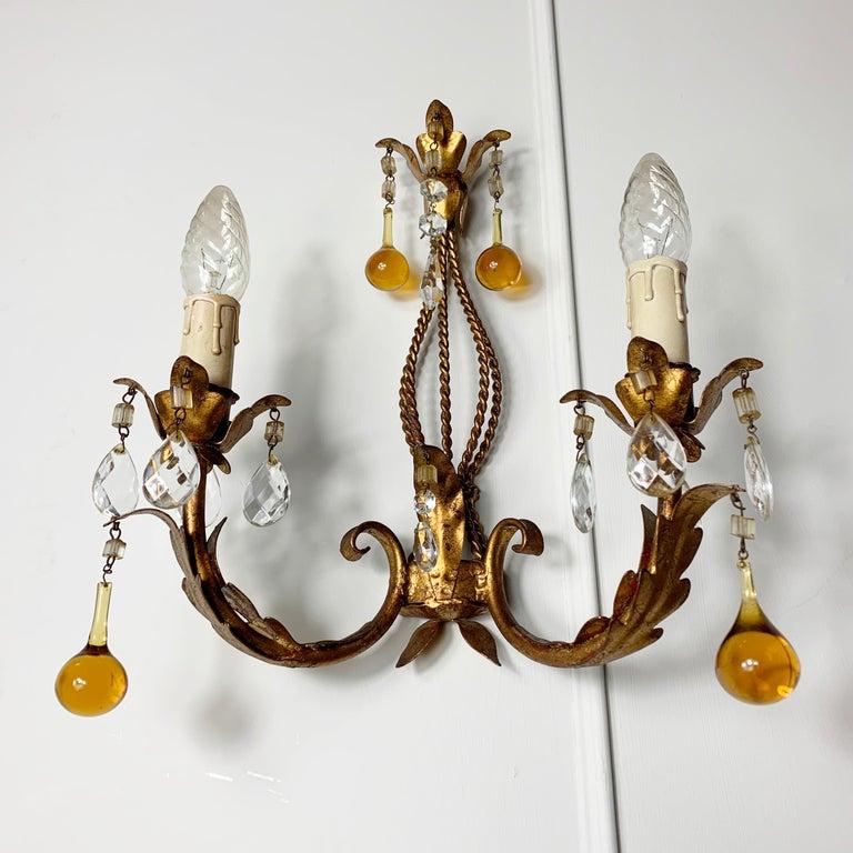 Italian Murano Glass Drop Gilt Wall Light For Sale 1