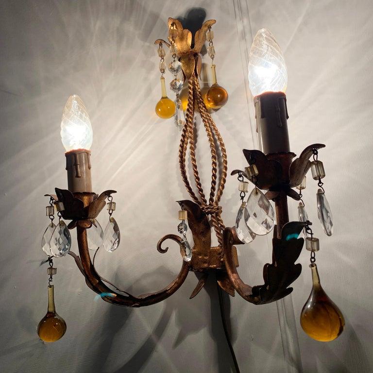 Italian Murano Glass Drop Gilt Wall Light For Sale 2
