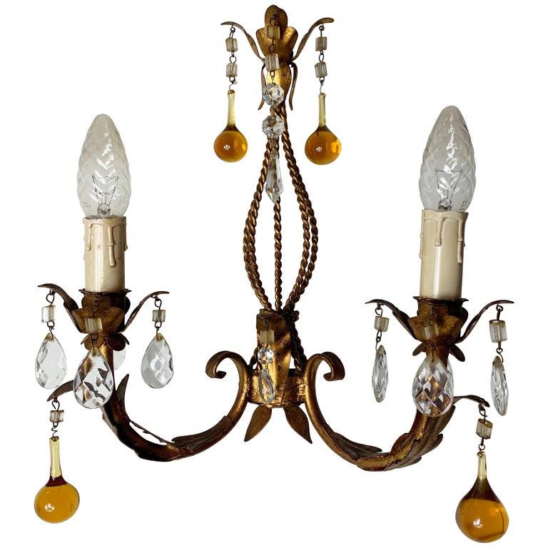 Italian Murano Glass Drop Gilt Wall Light For Sale