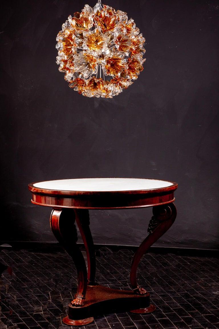 Italian Murano Glass Flowers Sputnik Chandelier by Mazzega, 1960 For Sale 5